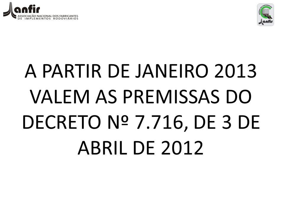 A PARTIR DE JANEIRO 2013 VALEM AS PREMISSAS DO DECRETO Nº 7.716, DE 3 DE ABRIL DE 2012
