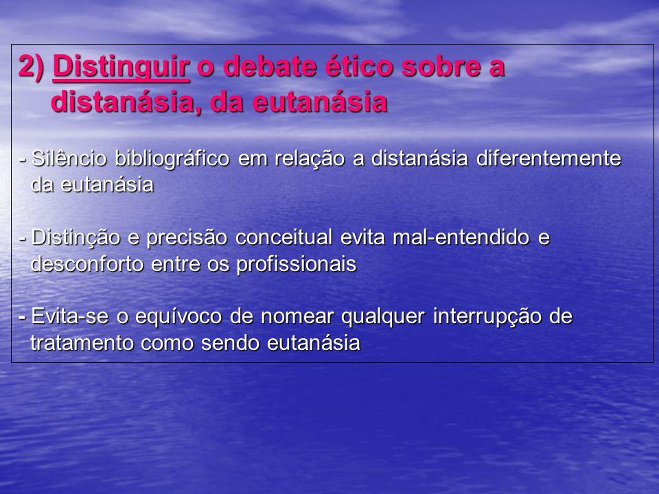 2) Distinguir o debate ético sobre a distanásia, da eutanásia - Silêncio bibliográfico em relação a distanásia diferentemente da eutanásia - Distinção
