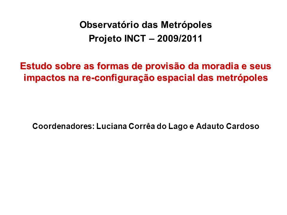 Observatório das Metrópoles Projeto INCT – 2009/2011 Estudo sobre as formas de provisão da moradia e seus impactos na re-configuração espacial das metrópoles Coordenadores: Luciana Corrêa do Lago e Adauto Cardoso