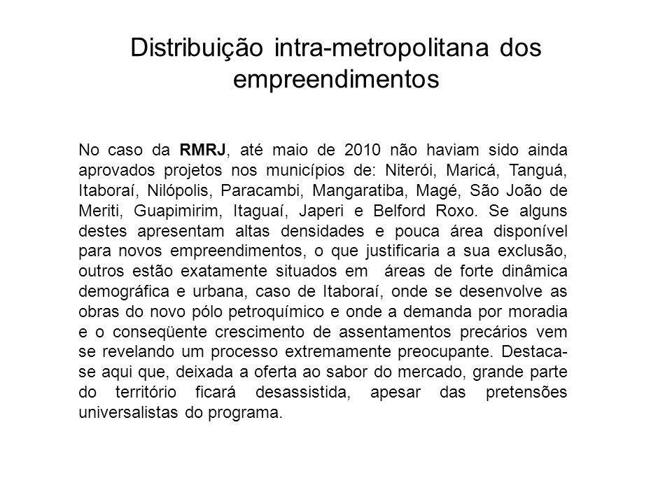 Distribuição intra-metropolitana dos empreendimentos No caso da RMRJ, até maio de 2010 não haviam sido ainda aprovados projetos nos municípios de: Niterói, Maricá, Tanguá, Itaboraí, Nilópolis, Paracambi, Mangaratiba, Magé, São João de Meriti, Guapimirim, Itaguaí, Japeri e Belford Roxo.