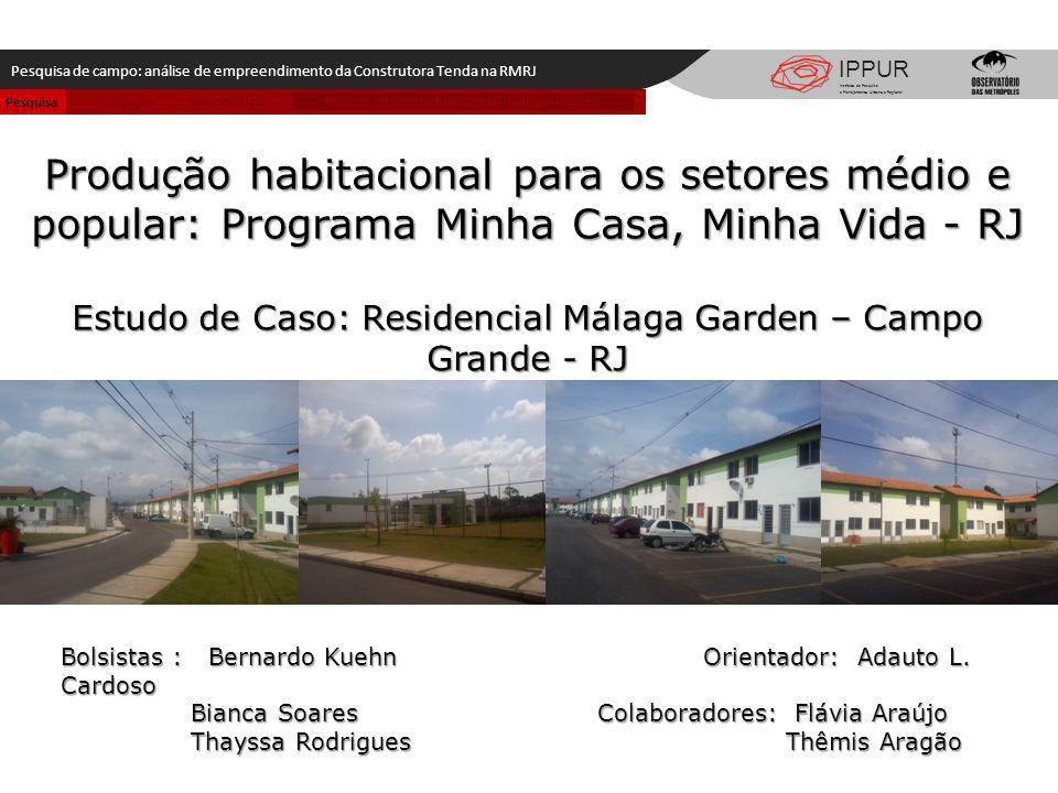 Metodologia IPPUR Pesquisa de campo: análise de empreendimento da Construtora Tenda na RMRJ Instituto de Pesquisa e Planejamento Urbano e Regional Pro