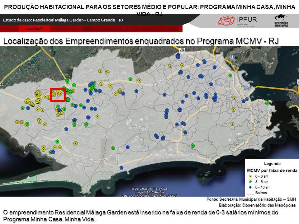 Metodologia LocalizaçãoPesquisa Empreendimento Residencial Málaga Garden IPPUR PRODUÇÃO HABITACIONAL PARA OS SETORES MÉDIO E POPULAR: PROGRAMA MINHA C