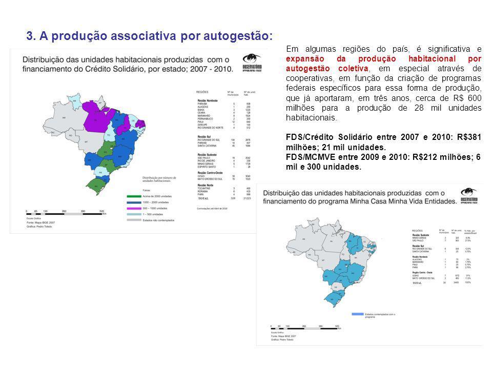 3. A produção associativa por autogestão: Em algumas regiões do país, é significativa e expansão da produção habitacional por autogestão coletiva, em