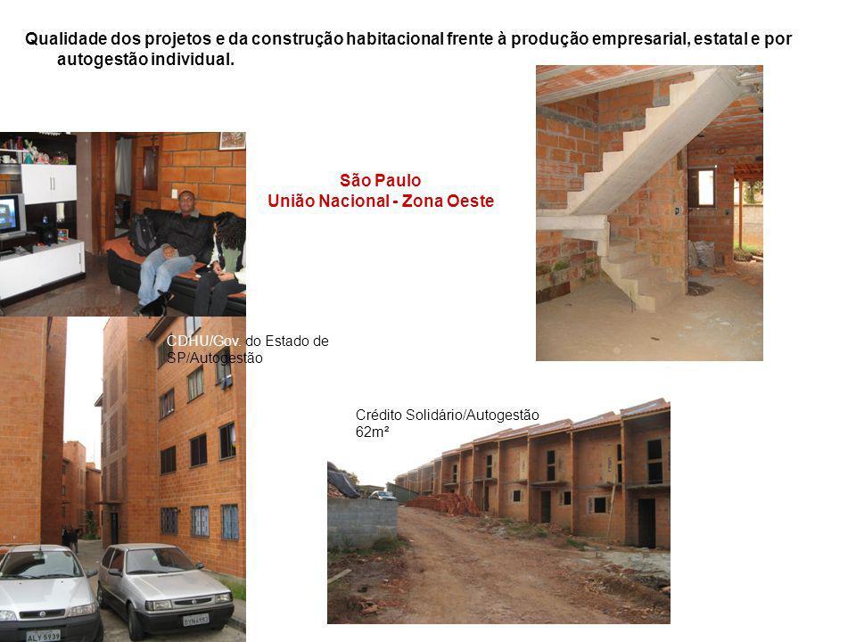 Qualidade dos projetos e da construção habitacional frente à produção empresarial, estatal e por autogestão individual. São Paulo União Nacional - Zon