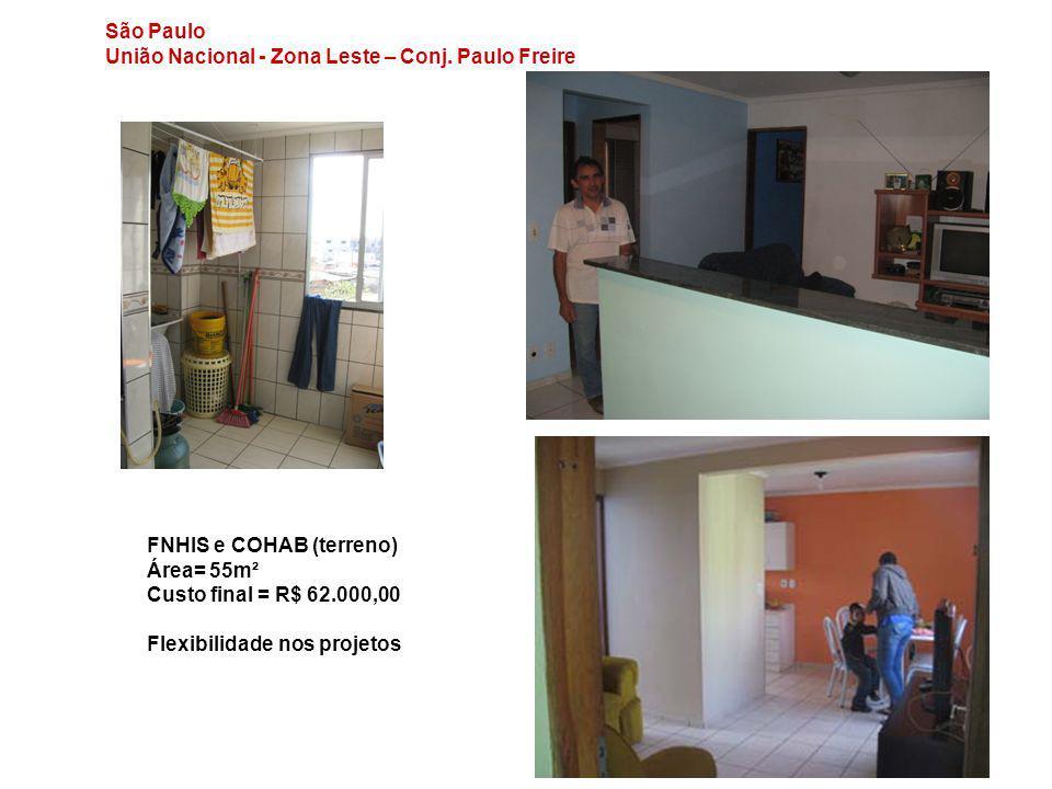 São Paulo União Nacional - Zona Leste – Conj. Paulo Freire FNHIS e COHAB (terreno) Área= 55m² Custo final = R$ 62.000,00 Flexibilidade nos projetos