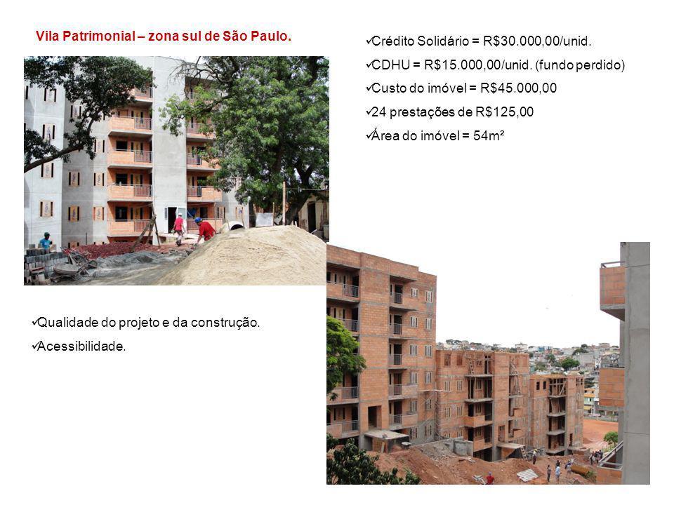 Vila Patrimonial – zona sul de São Paulo. Crédito Solidário = R$30.000,00/unid. CDHU = R$15.000,00/unid. (fundo perdido) Custo do imóvel = R$45.000,00