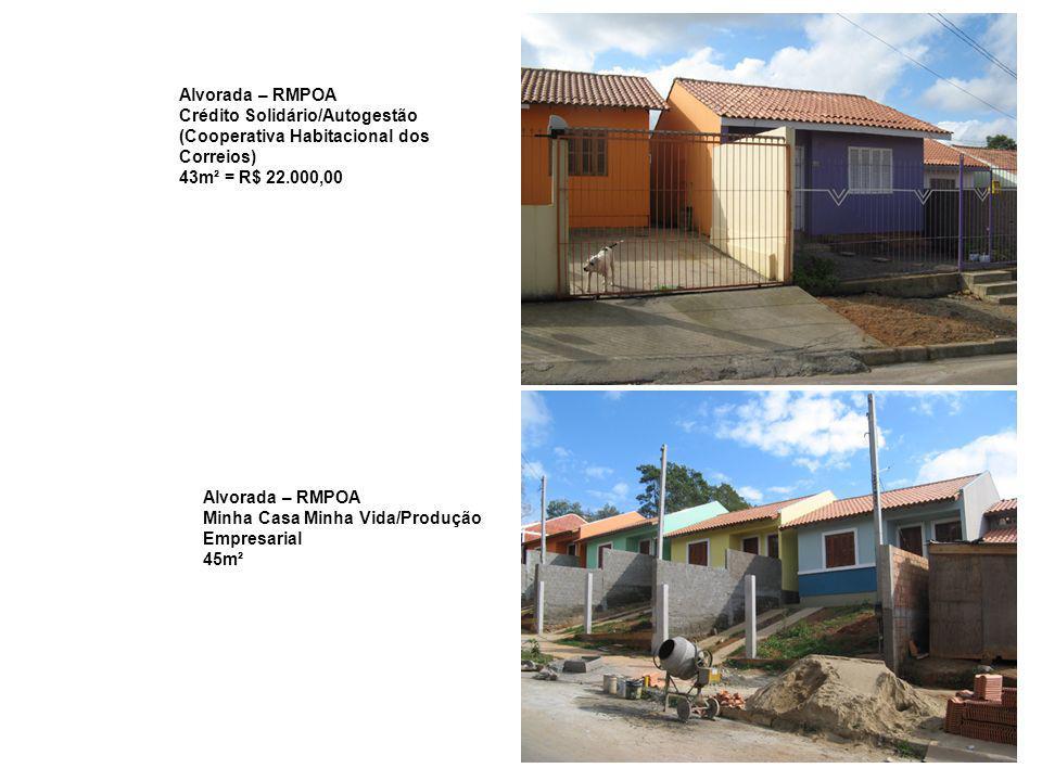 Alvorada – RMPOA Crédito Solidário/Autogestão (Cooperativa Habitacional dos Correios) 43m² = R$ 22.000,00 Alvorada – RMPOA Minha Casa Minha Vida/Produ