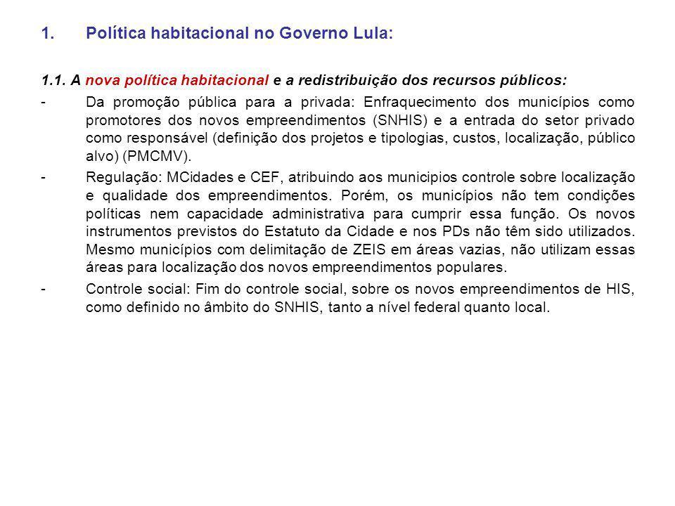 1.Política habitacional no Governo Lula: 1.1. A nova política habitacional e a redistribuição dos recursos públicos: - Da promoção pública para a priv