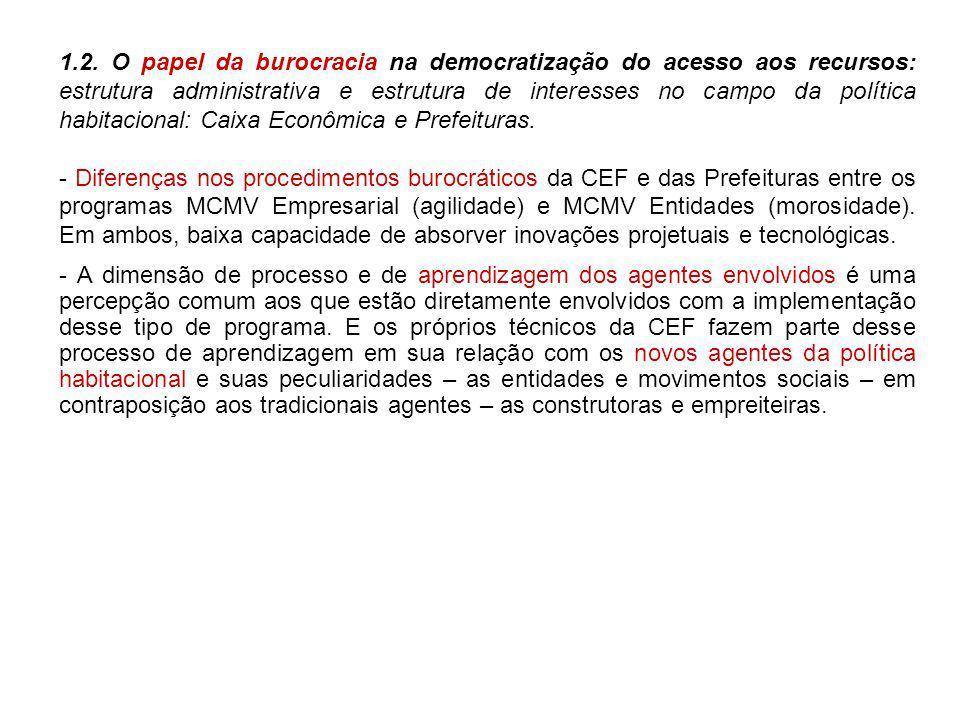 1.2. O papel da burocracia na democratização do acesso aos recursos: estrutura administrativa e estrutura de interesses no campo da política habitacio