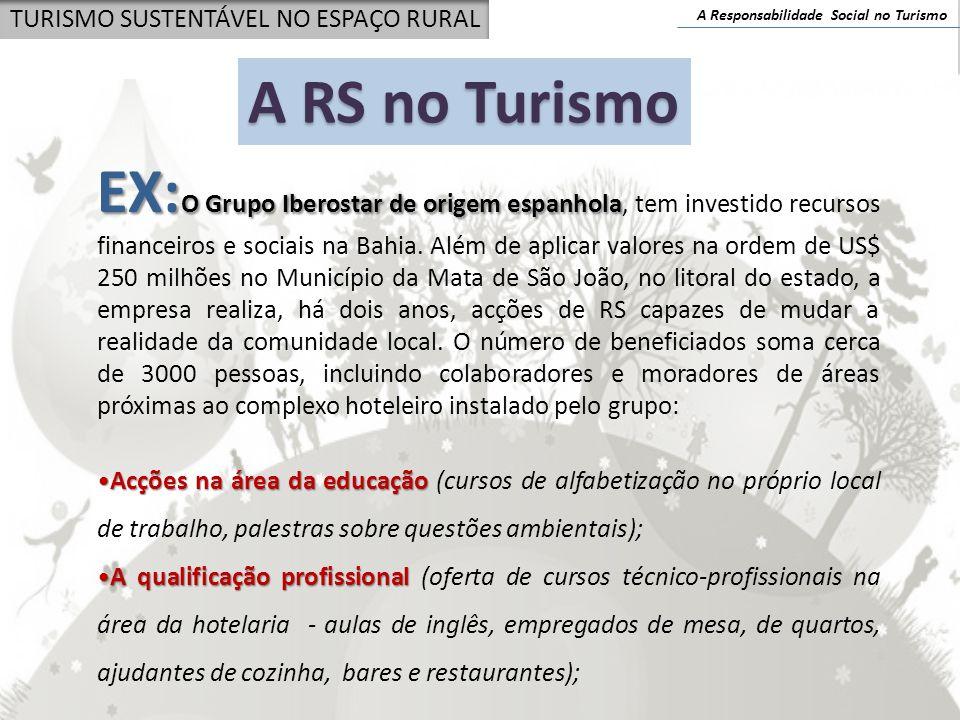 A Responsabilidade Social no Turismo TURISMO SUSTENTÁVEL NO ESPAÇO RURAL EX: O Grupo Iberostar de origem espanhola EX: O Grupo Iberostar de origem esp