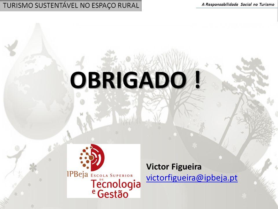 A Responsabilidade Social no Turismo TURISMO SUSTENTÁVEL NO ESPAÇO RURAL OBRIGADO ! Victor Figueira victorfigueira@ipbeja.pt