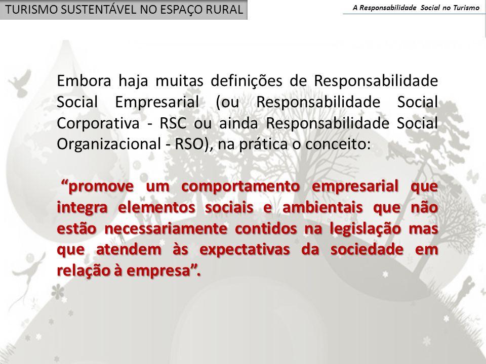 A Responsabilidade Social no Turismo TURISMO SUSTENTÁVEL NO ESPAÇO RURAL Embora haja muitas definições de Responsabilidade Social Empresarial (ou Resp