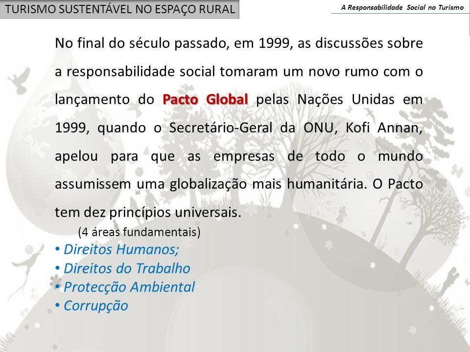 A Responsabilidade Social no Turismo TURISMO SUSTENTÁVEL NO ESPAÇO RURAL Pacto Global No final do século passado, em 1999, as discussões sobre a respo