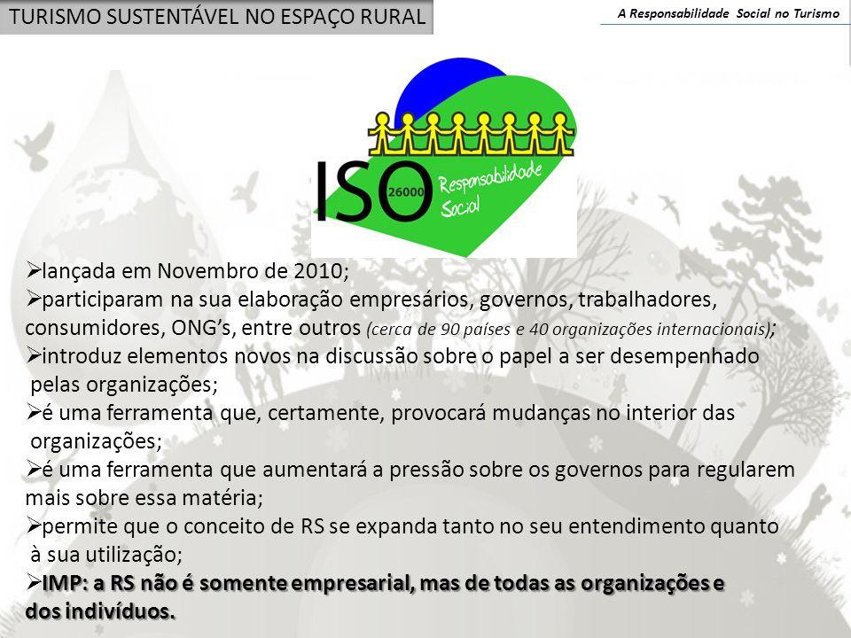A Responsabilidade Social no Turismo TURISMO SUSTENTÁVEL NO ESPAÇO RURAL A RS no turismo: fases Primeira fase: na origem A criação da OMT (1970) Declaração de Manila (1980) Documento de Acapulco (1982) Carta do Turismo e Código do Turista (1985) Carta de Columbia (1988) Carta do Turismo Sustentável (1995) Declaração de Berlim – biodiversidade e turismo (1997) Código de Ética do Turismo (1999) Segunda fase: o turismo sustentável e ético Terceira fase: a consolidação da responsabilidade social no turismo o combate à pobreza e à desigualdade social Nesta fase, que se inicia no ano 2000 e se prolonga até à actualidade, o turismo consolida a sua abordagem no aspecto social, envolvendo-se directamente na luta contra a pobreza.