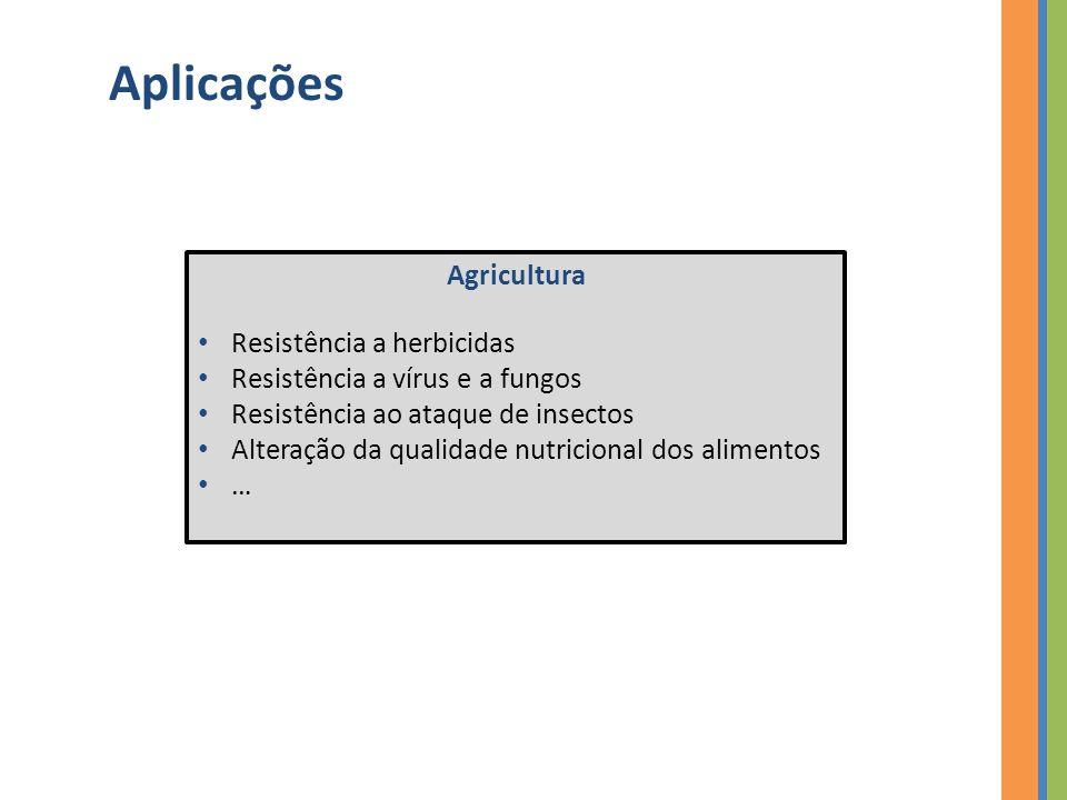 Aplicações Agricultura Resistência a herbicidas Resistência a vírus e a fungos Resistência ao ataque de insectos Alteração da qualidade nutricional dos alimentos …