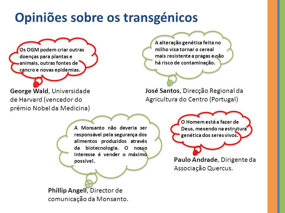 Opiniões sobre os transgénicos Os OGM podem criar outras doenças para plantas e animais, outras fontes de cancro e novas epidemias.