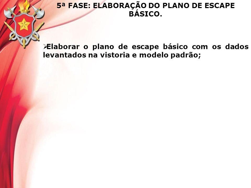 5ª FASE: ELABORAÇÃO DO PLANO DE ESCAPE BÁSICO. Elaborar o plano de escape básico com os dados levantados na vistoria e modelo padrão;