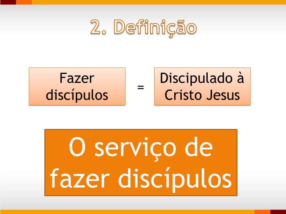 Fazer discípulos Discipulado à Cristo Jesus O serviço de fazer discípulos =