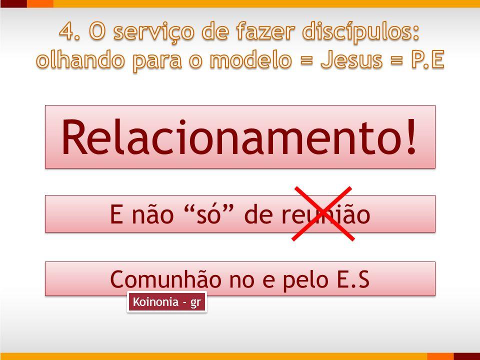 Relacionamento! E não só de reunião Comunhão no e pelo E.S Koinonia - gr