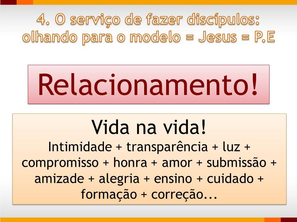 Relacionamento! E não só de reunião Comunhão no e pelo E.S Koinonia - gr Vida na vida! Intimidade + transparência + luz + compromisso + honra + amor +