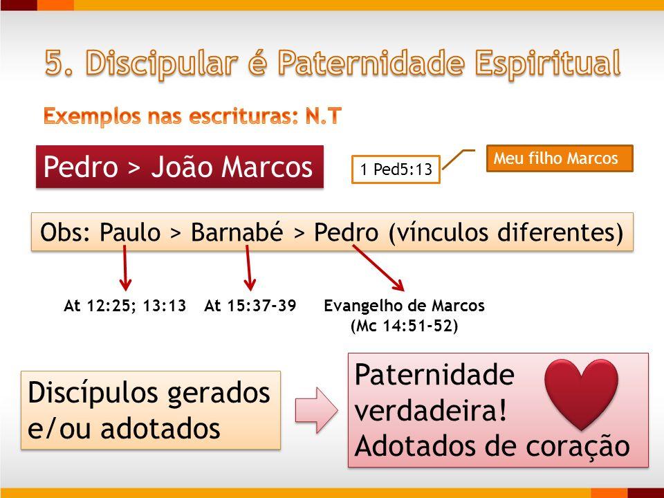 Pedro > João Marcos 1 Ped5:13 Meu filho Marcos Obs: Paulo > Barnabé > Pedro (vínculos diferentes) At 12:25; 13:13At 15:37-39Evangelho de Marcos (Mc 14
