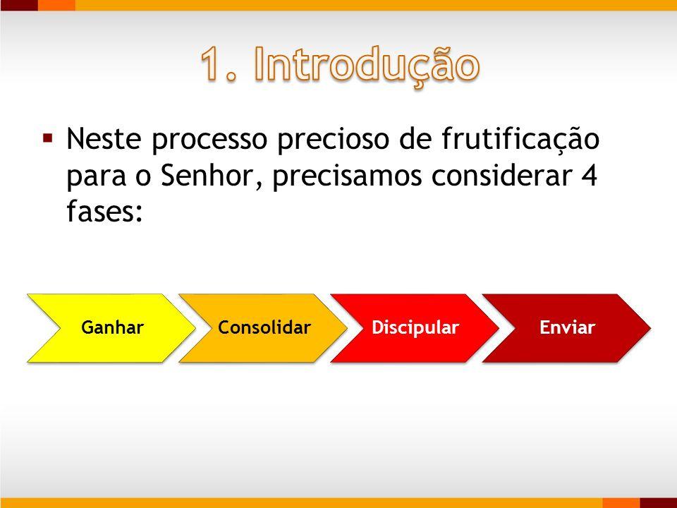 Neste processo precioso de frutificação para o Senhor, precisamos considerar 4 fases: GanharConsolidarDiscipularEnviar
