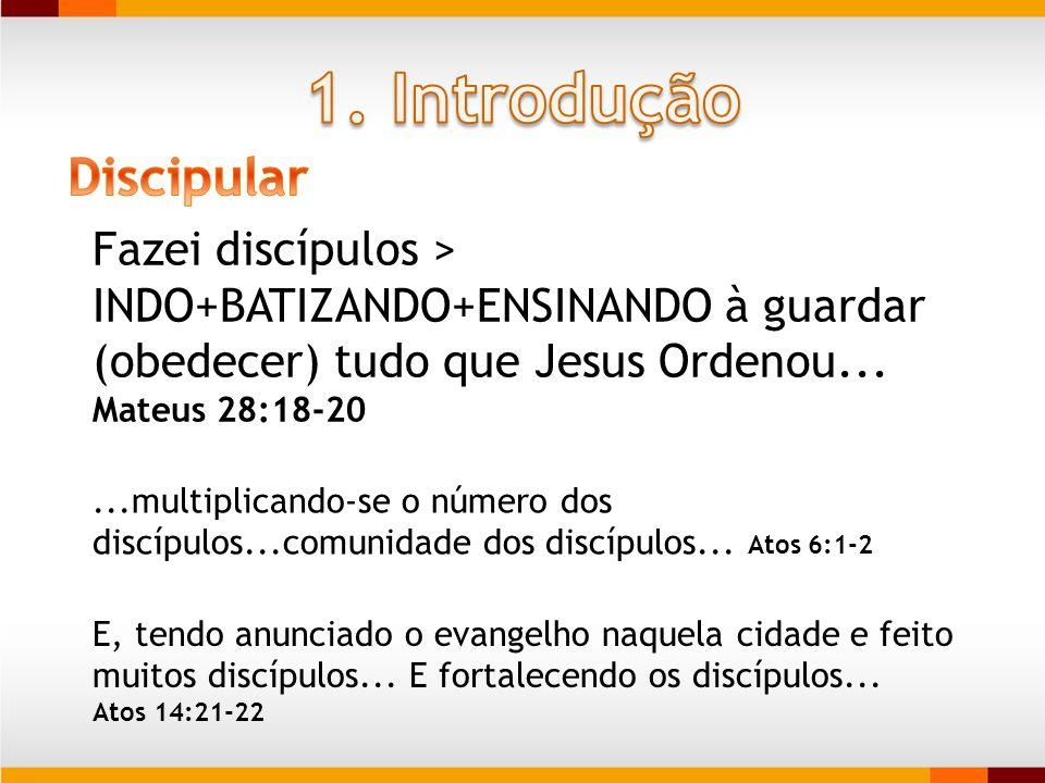 Fazei discípulos > INDO+BATIZANDO+ENSINANDO à guardar (obedecer) tudo que Jesus Ordenou... Mateus 28:18-20...multiplicando-se o número dos discípulos.