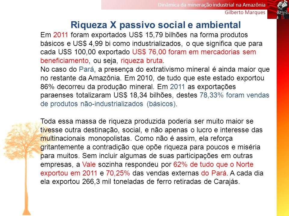 Dinâmica da mineração industrial na Amazônia Gilberto Marques Riqueza X passivo social e ambiental Em 2011 foram exportados US$ 15,79 bilhões na forma