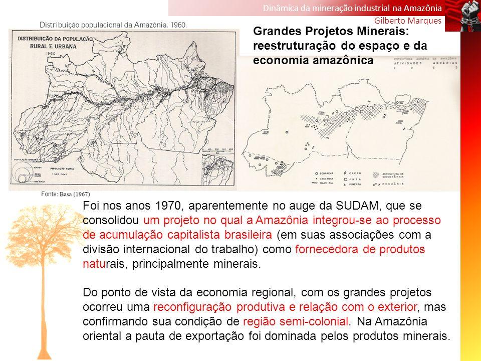 Dinâmica da mineração industrial na Amazônia Gilberto Marques Foi nos anos 1970, aparentemente no auge da SUDAM, que se consolidou um projeto no qual