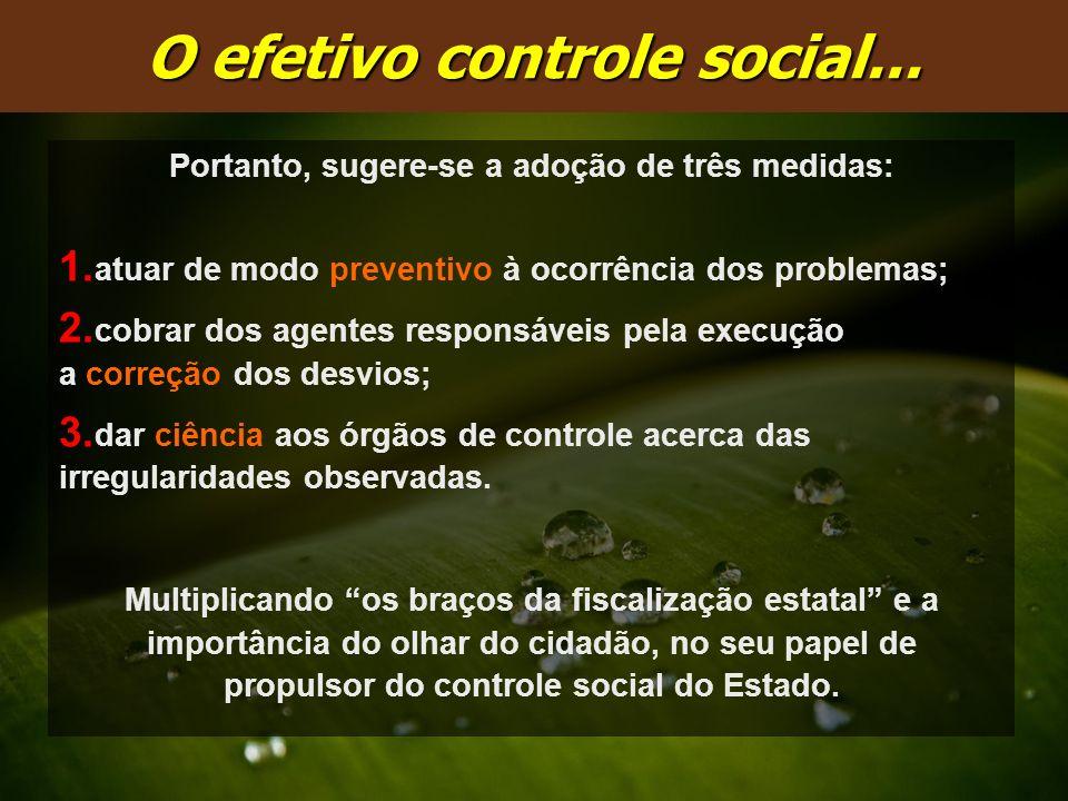 Portanto, sugere-se a adoção de três medidas: 1. atuar de modo preventivo à ocorrência dos problemas; 2. cobrar dos agentes responsáveis pela execução