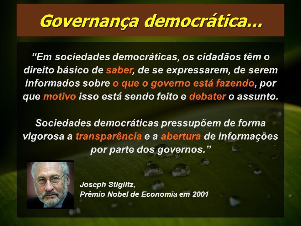 Em sociedades democráticas, os cidadãos têm o direito básico de saber, de se expressarem, de serem informados sobre o que o governo está fazendo, por