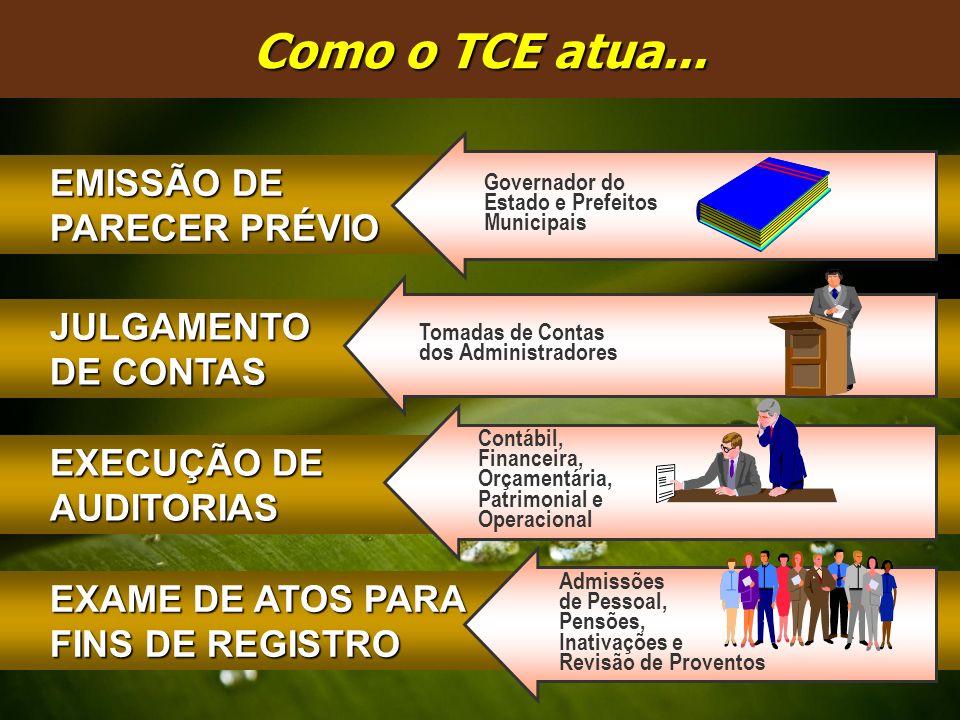 Como o TCE atua... EXECUÇÃO DE AUDITORIAS JULGAMENTO DE CONTAS EMISSÃO DE PARECER PRÉVIO EXAME DE ATOS PARA FINS DE REGISTRO Tomadas de Contas dos Adm