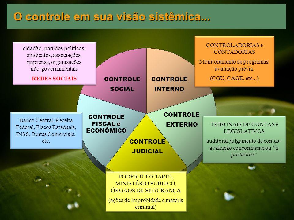 CONTROLE INTERNO CONTROLE EXTERNO CONTROLE JUDICIAL CONTROLE FISCAL e ECONÔMICO CONTROLE SOCIAL PODER JUDICIÁRIO, MINISTÉRIO PÚBLICO, ÓRGÃOS DE SEGURA