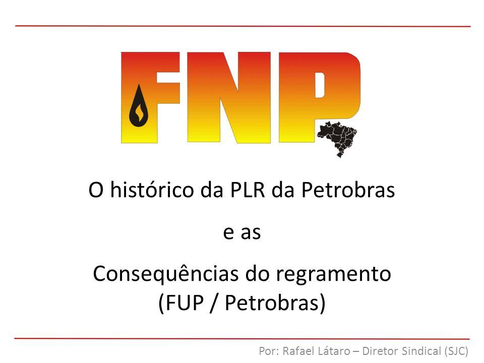 O histórico da PLR da Petrobras e as Consequências do regramento (FUP / Petrobras) Por: Rafael Látaro – Diretor Sindical (SJC)