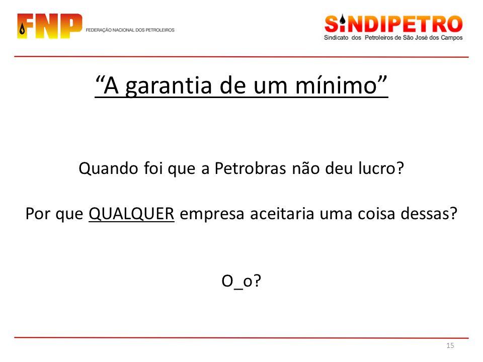 Quando foi que a Petrobras não deu lucro? Por que QUALQUER empresa aceitaria uma coisa dessas? O_o? A garantia de um mínimo 15