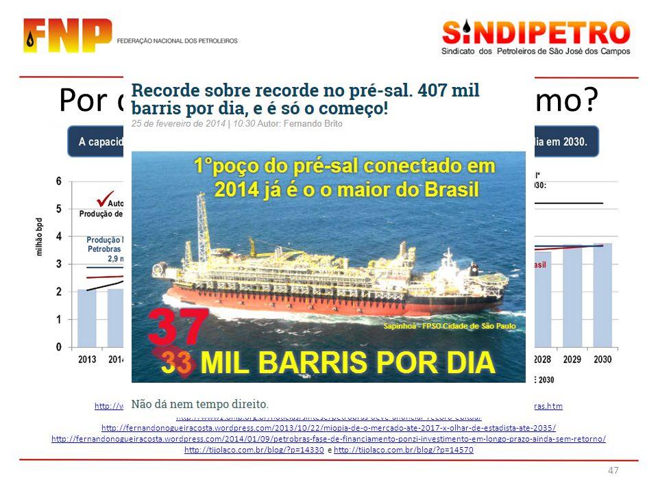 Por que querer garantir um mínimo? Fontes: http://www.petrobras.com.br/pt/quem-somos/estrategia/plano-de-negocios-e-gestao/http://www.petrobras.com.br