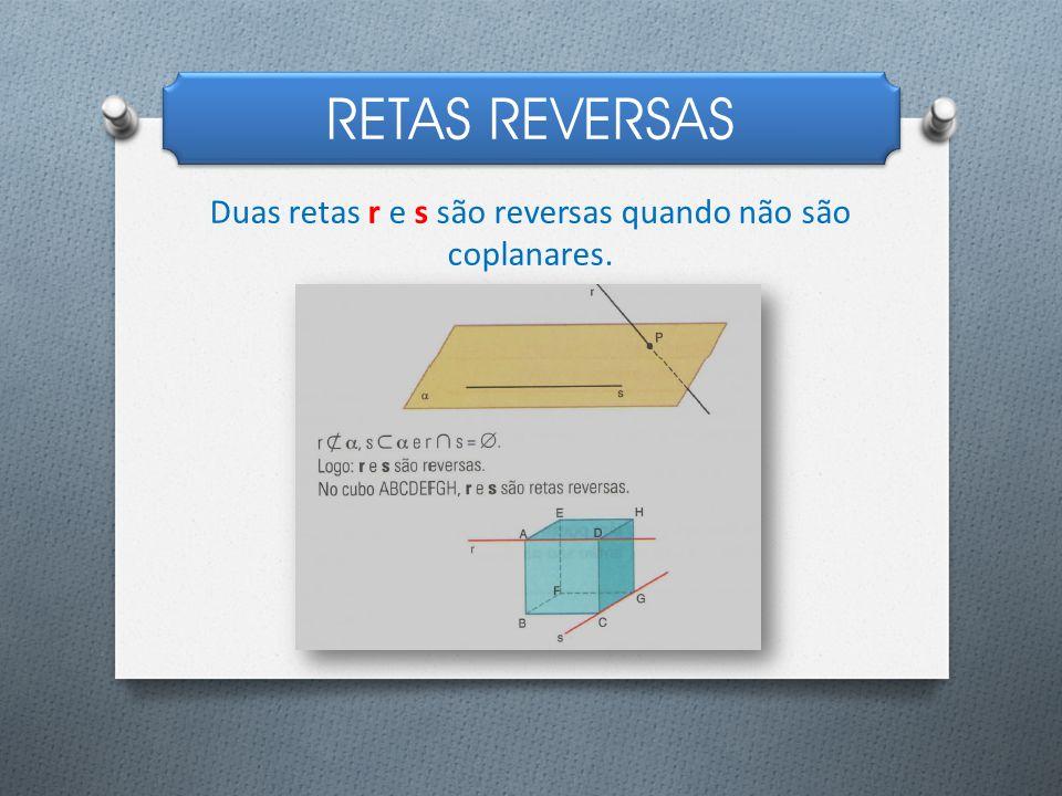 RETAS REVERSAS Duas retas r e s são reversas quando não são coplanares.