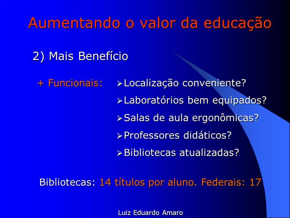 Aumentando o valor da educação Luiz Eduardo Amaro 2) Mais Benefício + Funcionais: Localização conveniente? Localização conveniente? Laboratórios bem e