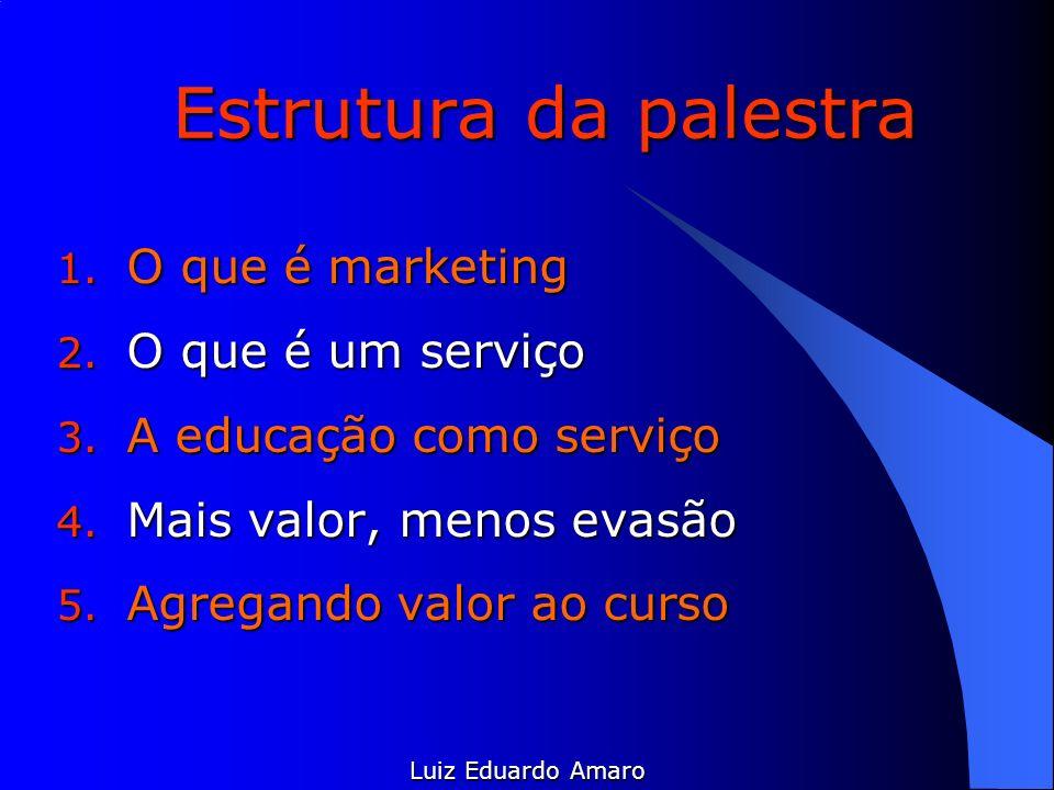 Estrutura da palestra 1. O que é marketing 2. O que é um serviço 3. A educação como serviço 4. Mais valor, menos evasão 5. Agregando valor ao curso Lu