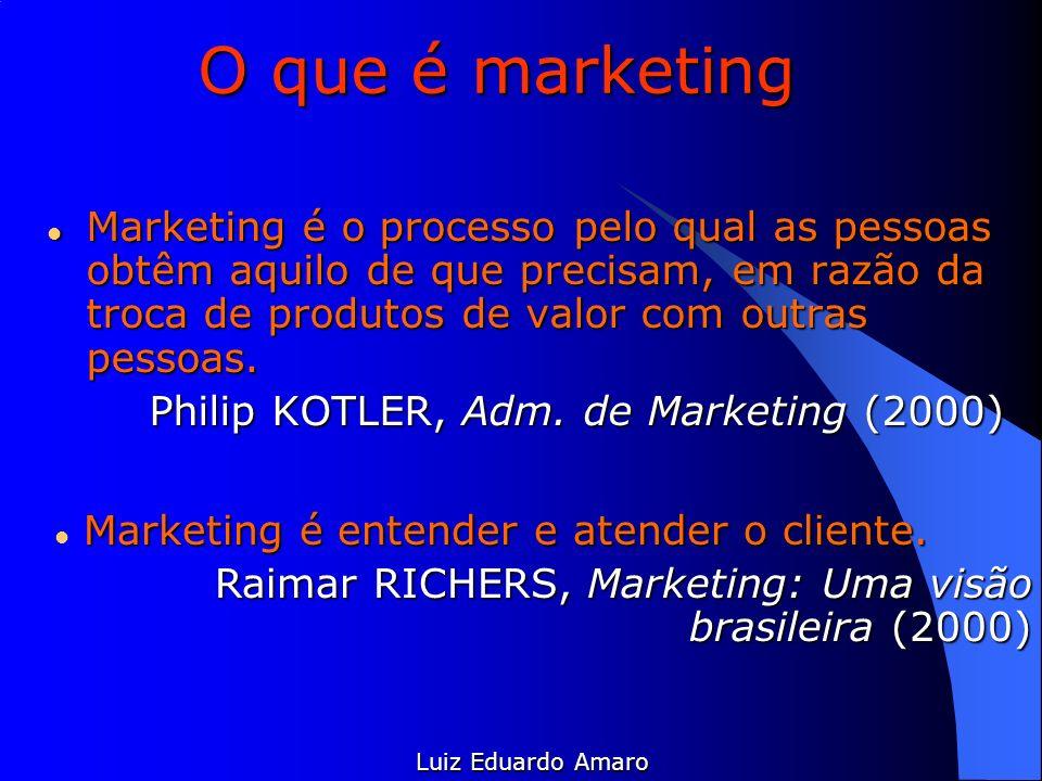 O que é marketing Marketing é o processo pelo qual as pessoas obtêm aquilo de que precisam, em razão da troca de produtos de valor com outras pessoas.