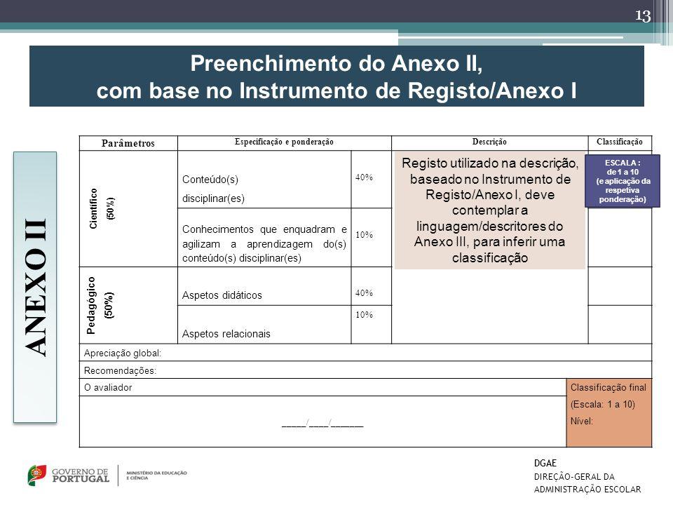Preenchimento do Anexo II, com base no Instrumento de Registo/Anexo I Parâmetros Especificação e ponderaçãoDescriçãoClassificação Científico (50%) Con