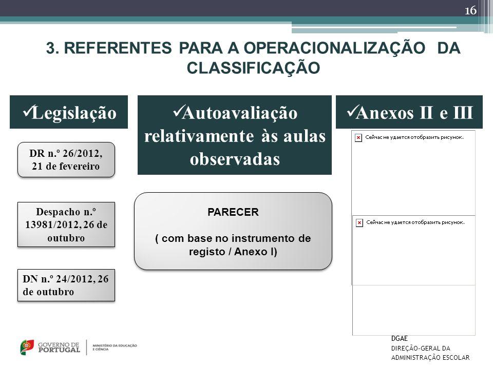 3. REFERENTES PARA A OPERACIONALIZAÇÃO DA CLASSIFICAÇÃO Legislação Autoavaliação relativamente às aulas observadas DR n.º 26/2012, 21 de fevereiro Des