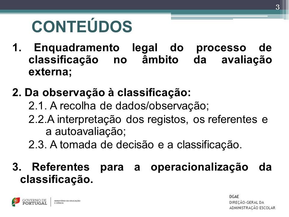1. Enquadramento legal do processo de classificação no âmbito da avaliação externa; 2. Da observação à classificação: 2.1. A recolha de dados/observaç