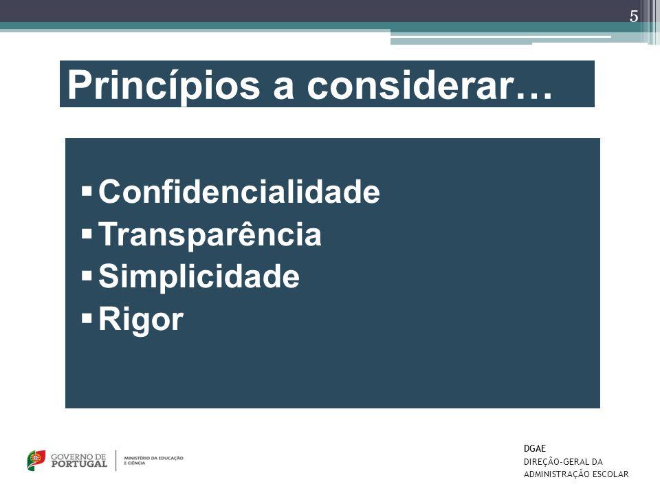 Princípios a considerar… Confidencialidade Transparência Simplicidade Rigor 5 DGAE DIREÇÃO-GERAL DA ADMINISTRAÇÃO ESCOLAR