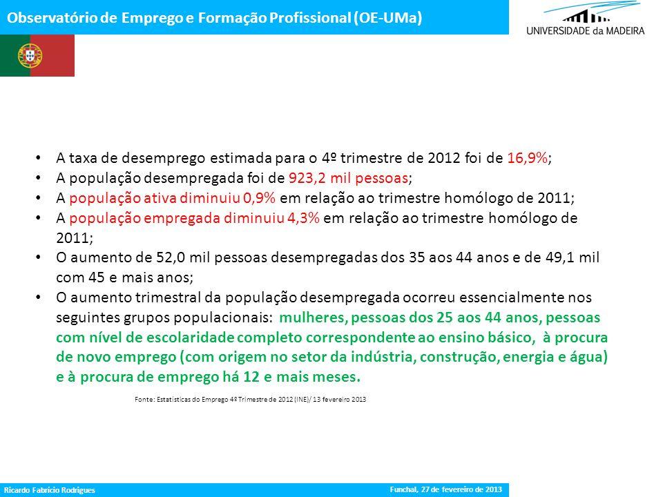 Gestão da Procura de Emprego Observatório de Emprego e Formação Profissional (OE-UMa) Fonte: Estatísticas do Emprego 4º Trimestre de 2012 (INE)/ 13 fe