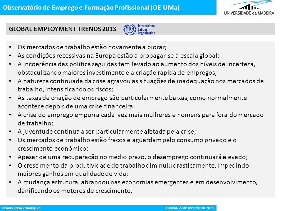 Gestão da Procura de Emprego Observatório de Emprego e Formação Profissional (OE-UMa) GLOBAL EMPLOYMENT TRENDS 2013 Funchal, 27 de fevereiro de 2013 R