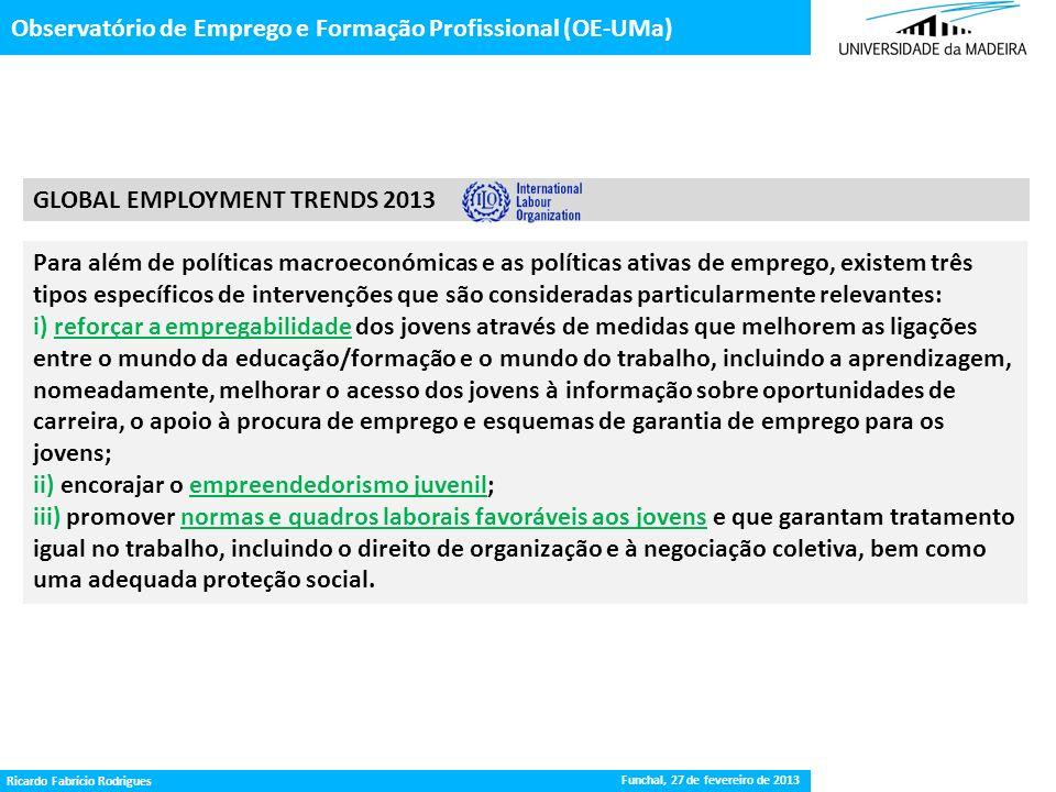 Gestão da Procura de Emprego Observatório de Emprego e Formação Profissional (OE-UMa) Funchal, 27 de fevereiro de 2013 Ricardo Fabrício Rodrigues GLOB