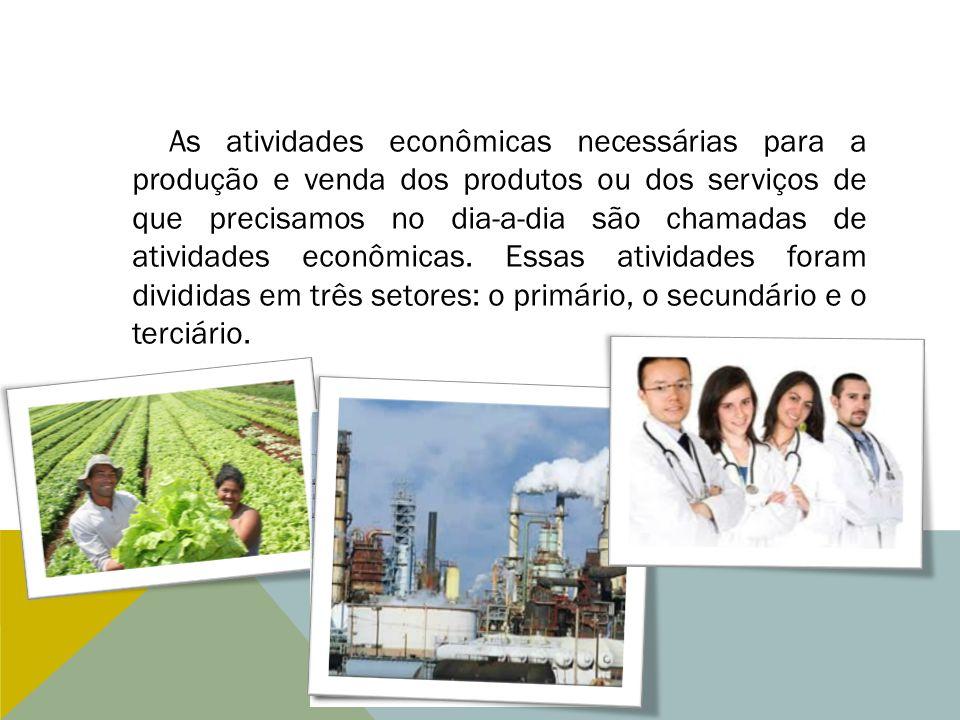 As atividades econômicas necessárias para a produção e venda dos produtos ou dos serviços de que precisamos no dia-a-dia são chamadas de atividades ec