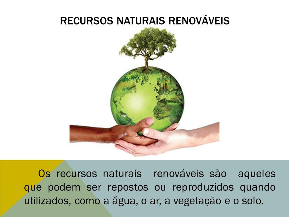 RECURSOS NATURAIS RENOVÁVEIS Os recursos naturais renováveis são aqueles que podem ser repostos ou reproduzidos quando utilizados, como a água, o ar,