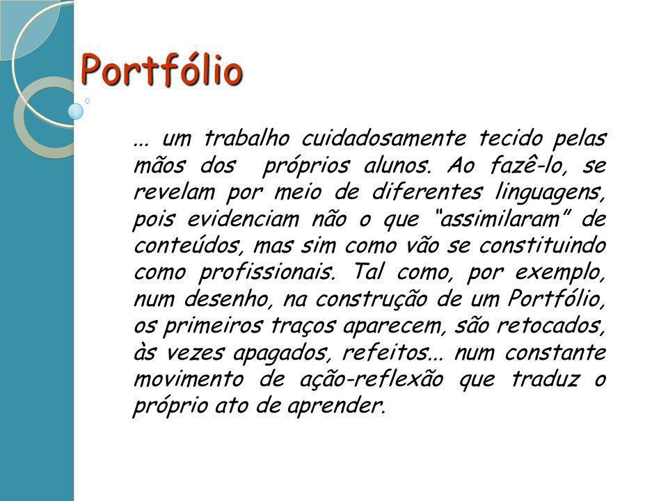 Portfólio... um trabalho cuidadosamente tecido pelas mãos dos próprios alunos. Ao fazê-lo, se revelam por meio de diferentes linguagens, pois evidenci